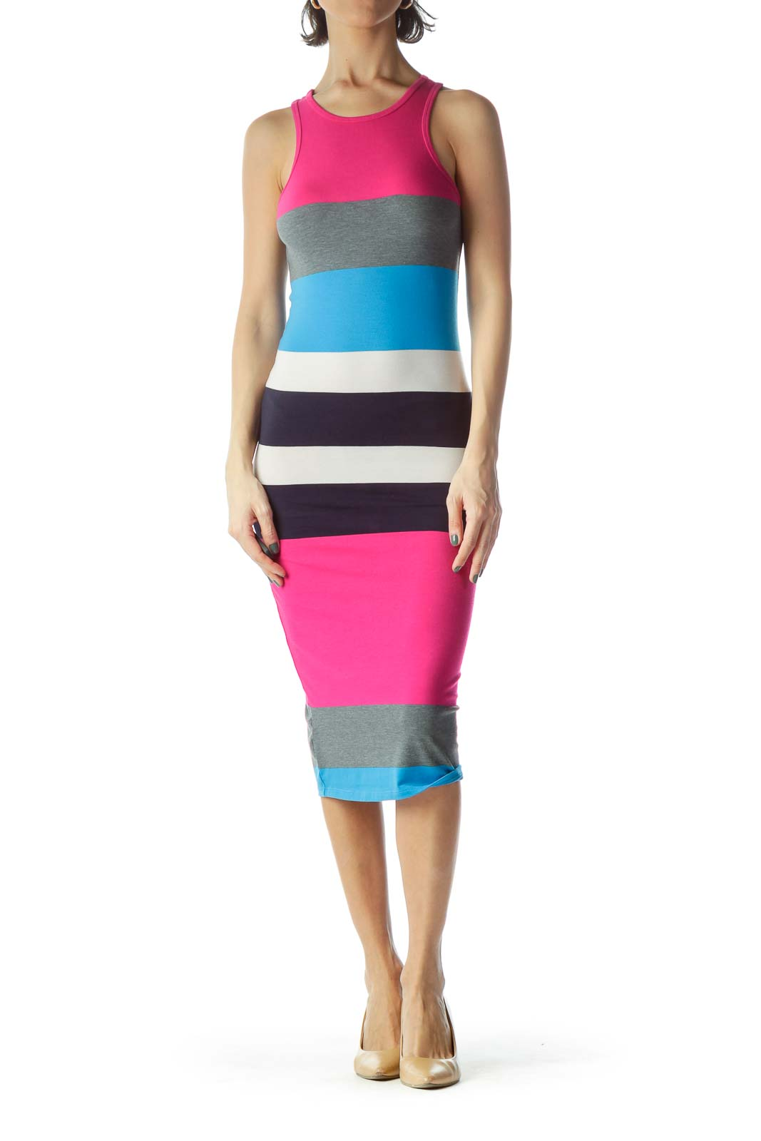 Multicolored Striped Jersey Knit Maxi Dress