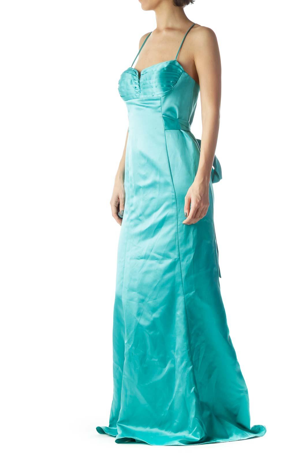 Teal Blue Sweetheart Neck Spaghetti Strap Dress