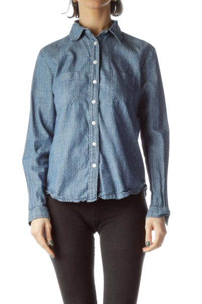 Blue Textured Print 100% Cotton Denim Shirt
