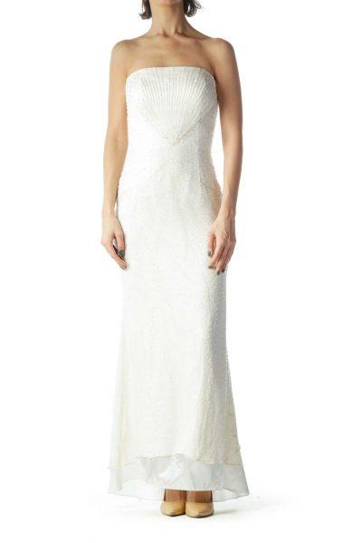 Cream Body Embellished 100% Silk Dress