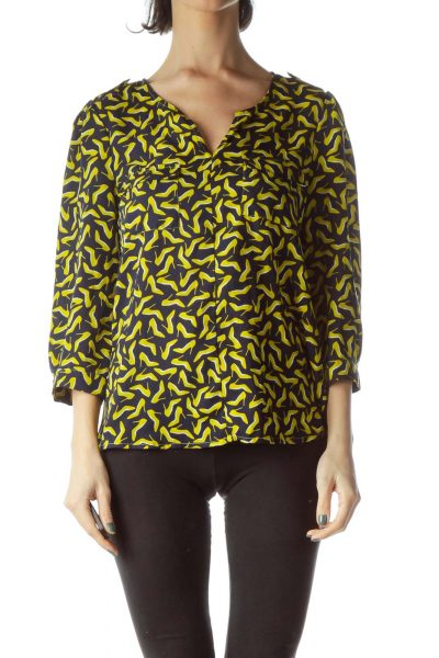Navy Blue Yellow Heels Print 3/4 Sleeve Blouse