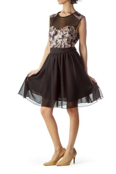 Black Rose Gold Sequined Flared Dress