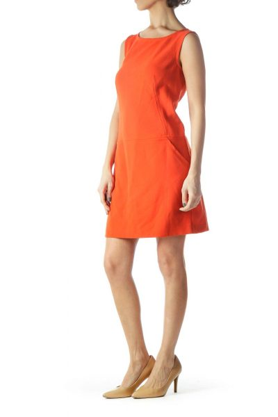 Orange Sleeveless Pocketed Knit Textured Dress