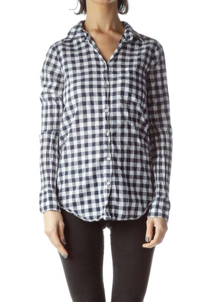 Navy Blue White Checkered 100% Cotton Long Shirt