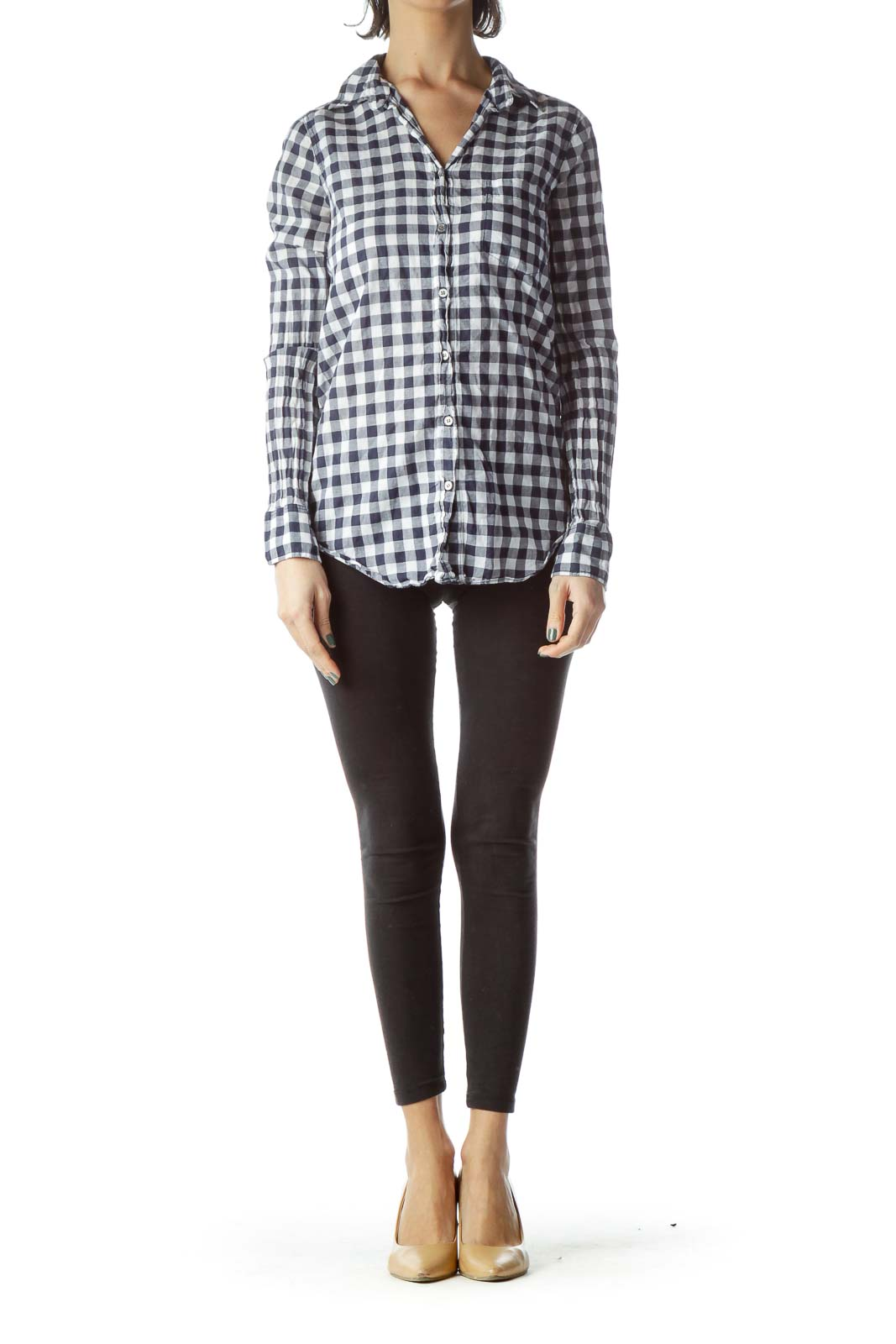 Navy Blue White Checkered 100% Cotton Long Shirt