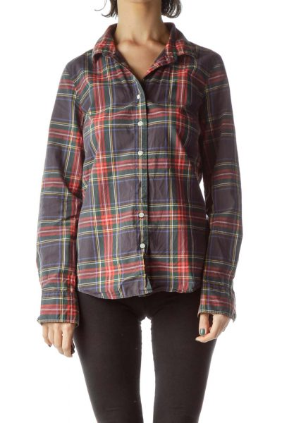 Multicolored Plaid 100% Cotton Shirt