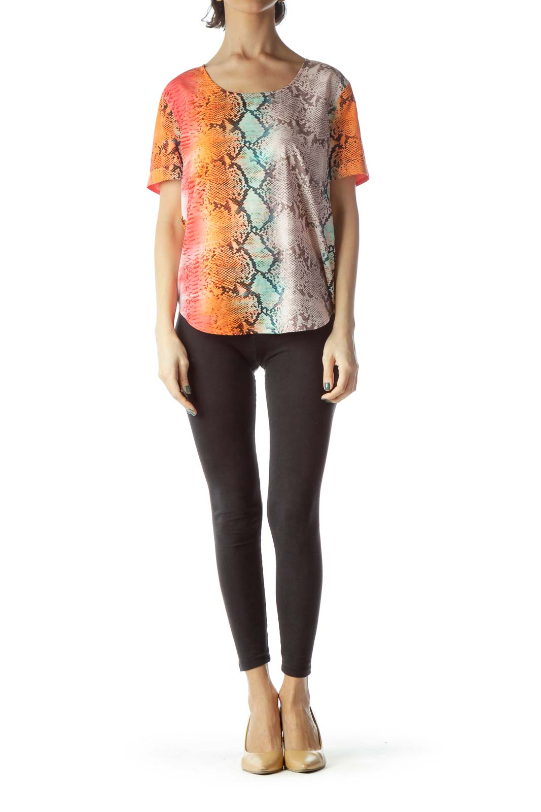 Multicolored Snakeskin Print Loose Blouse