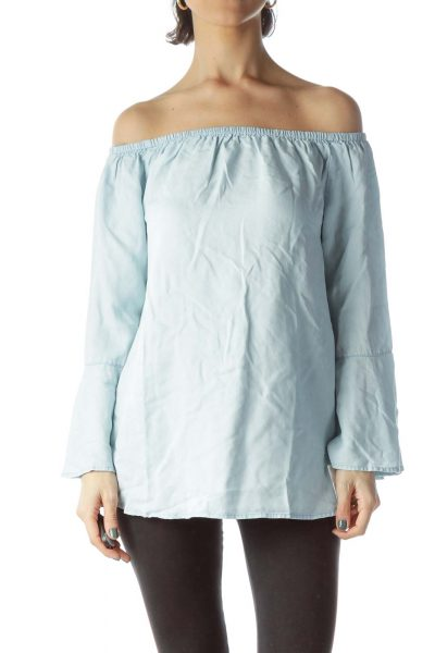Light Blue Cold Shoulder Flared Blouse