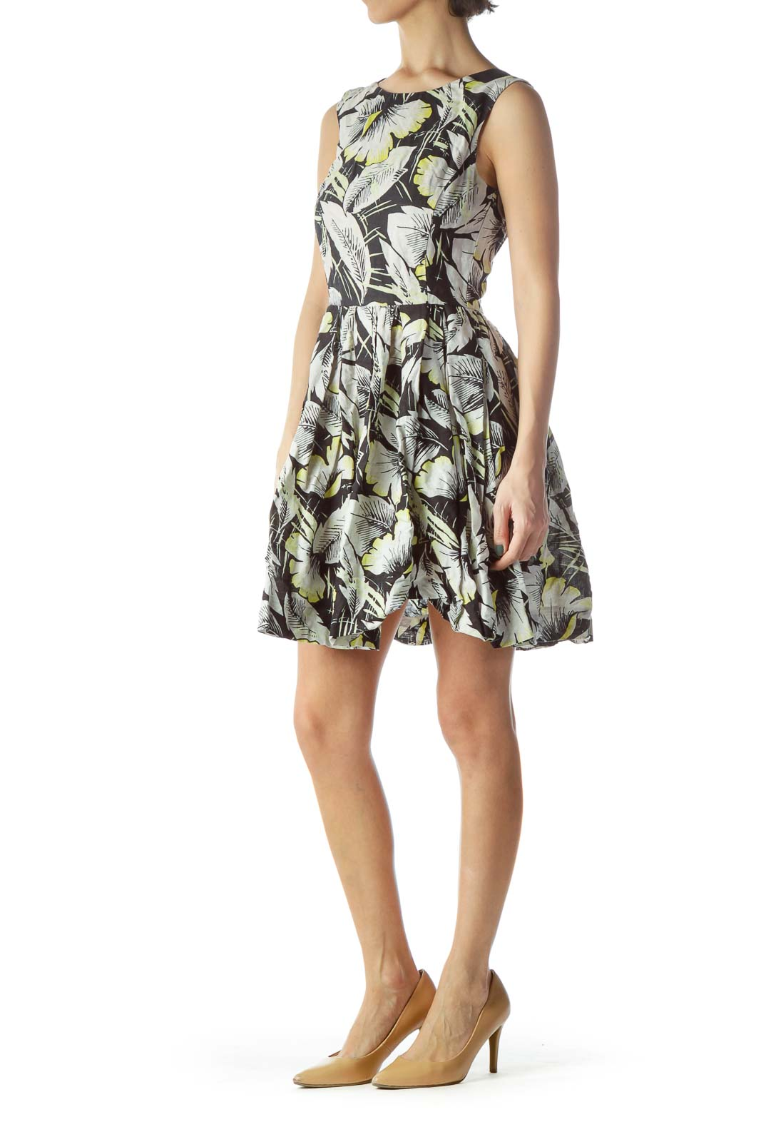 Black Gray Yellow Floral Print Flared Day Dress