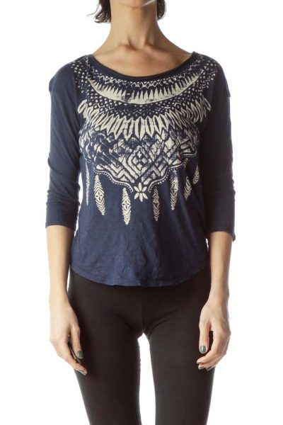 Navy Blue Cream Feather Print Jersey Knit Top