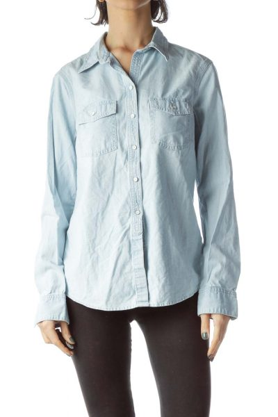 Light-Wash Blue Long Denim Shirt