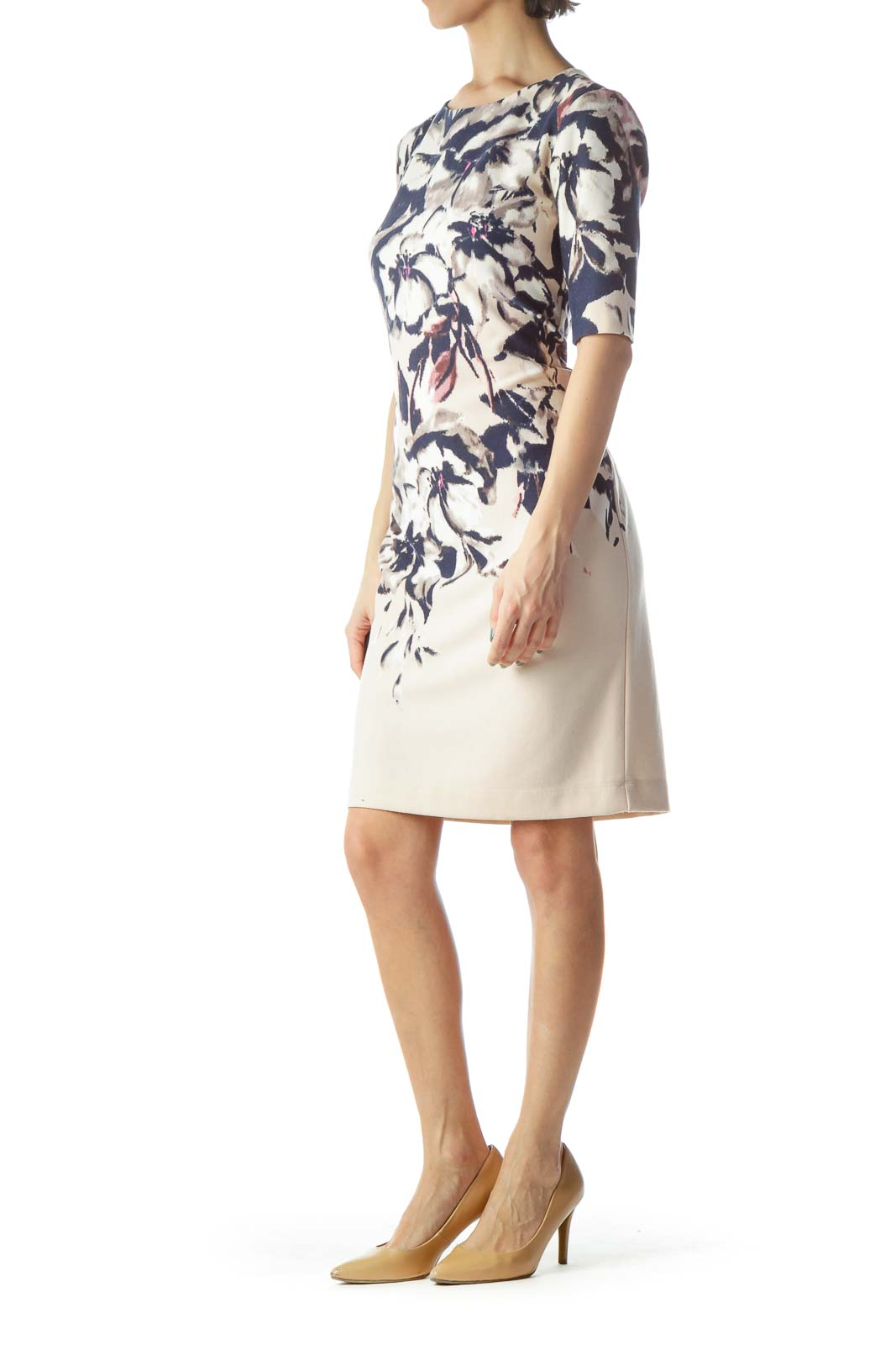 Light Pink Navy Blue Floral Print Dress
