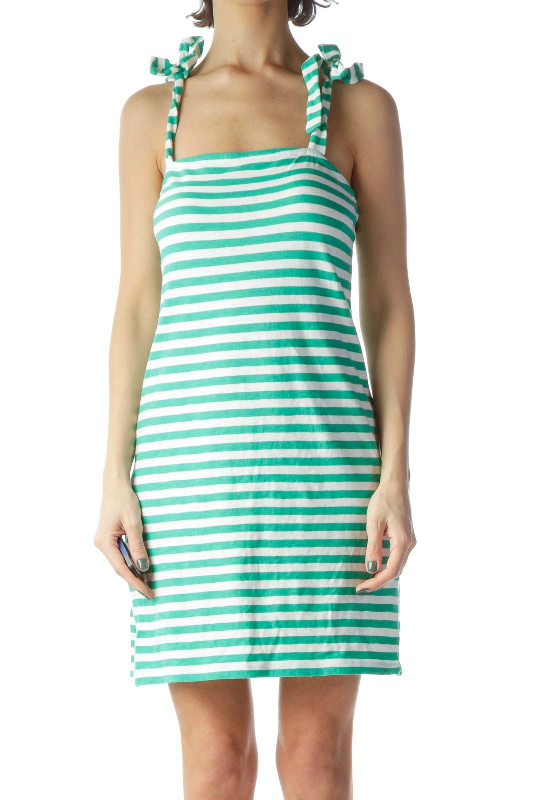 Mint Green White Striped 100% Cotton Dress