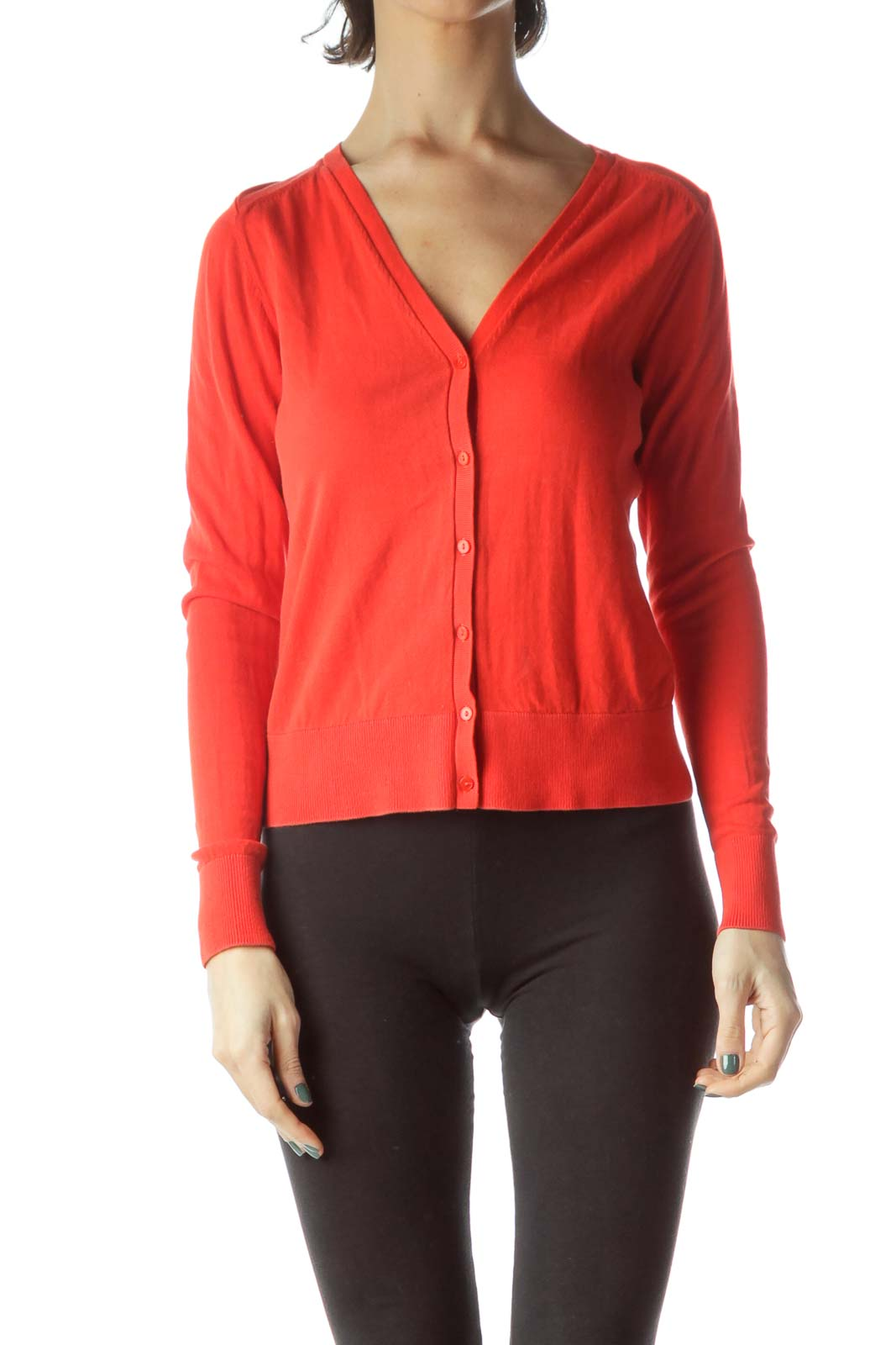 Red Buttoned Long Sleeve 100% Cotton Sweater