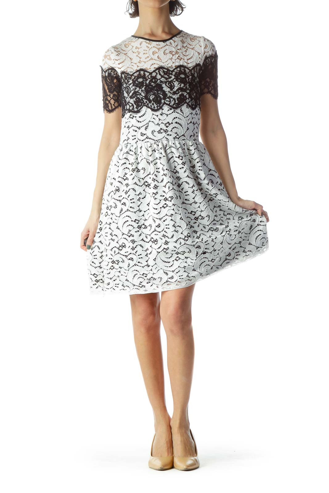 White Black Short Sleeve Lace Day Dress