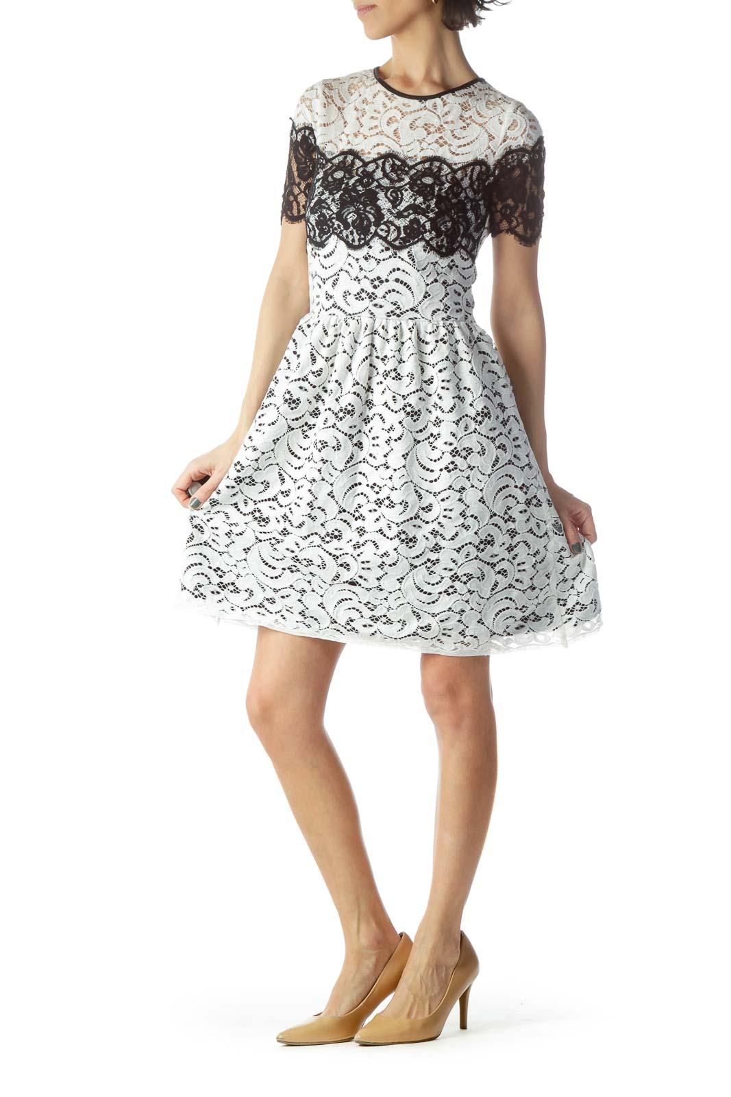 White Black Short Sleeve Lace Day Dress