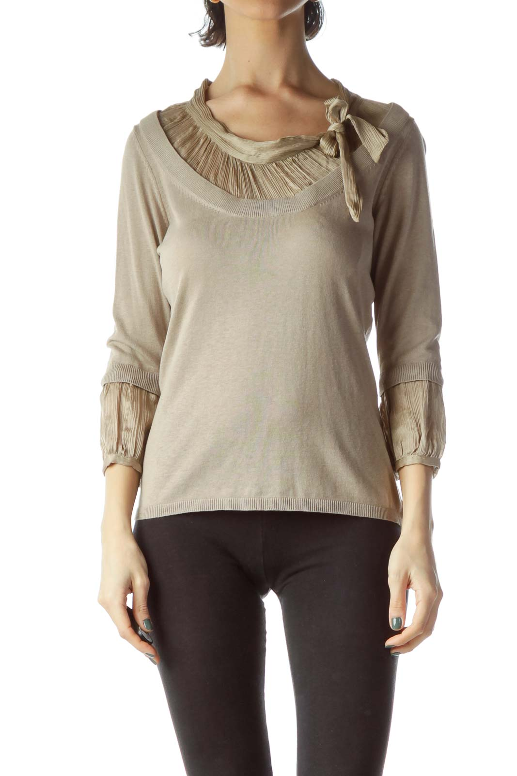 Beige Neck Bow 3/4 Sleeve Knit Top
