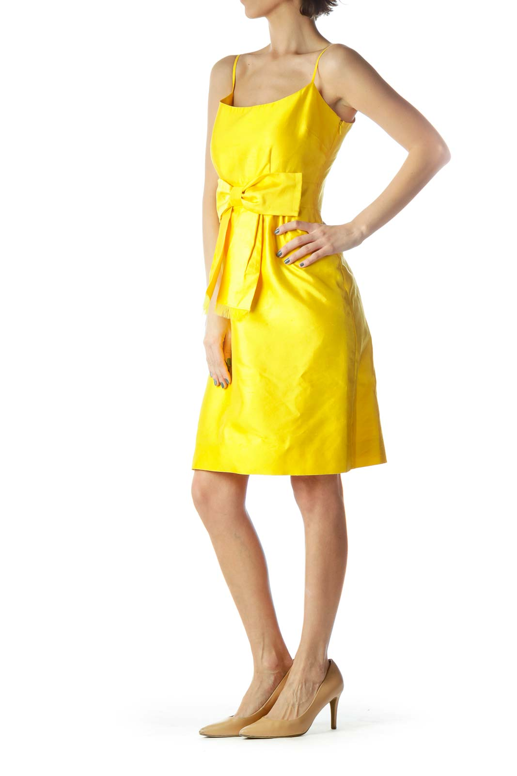 Yellow Spaghetti Strap Dress with Bow