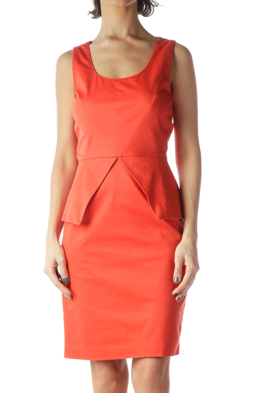 Orange Peplum Sheath Dress