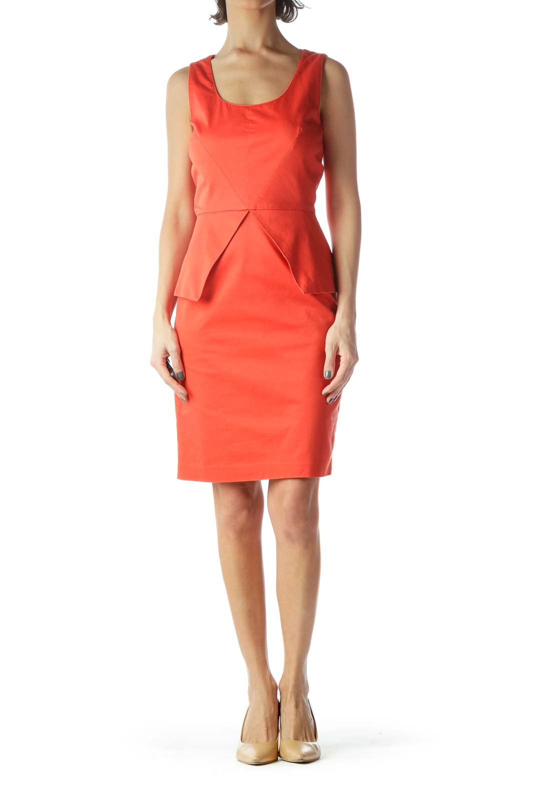 Orange Peplum Sheath Dress