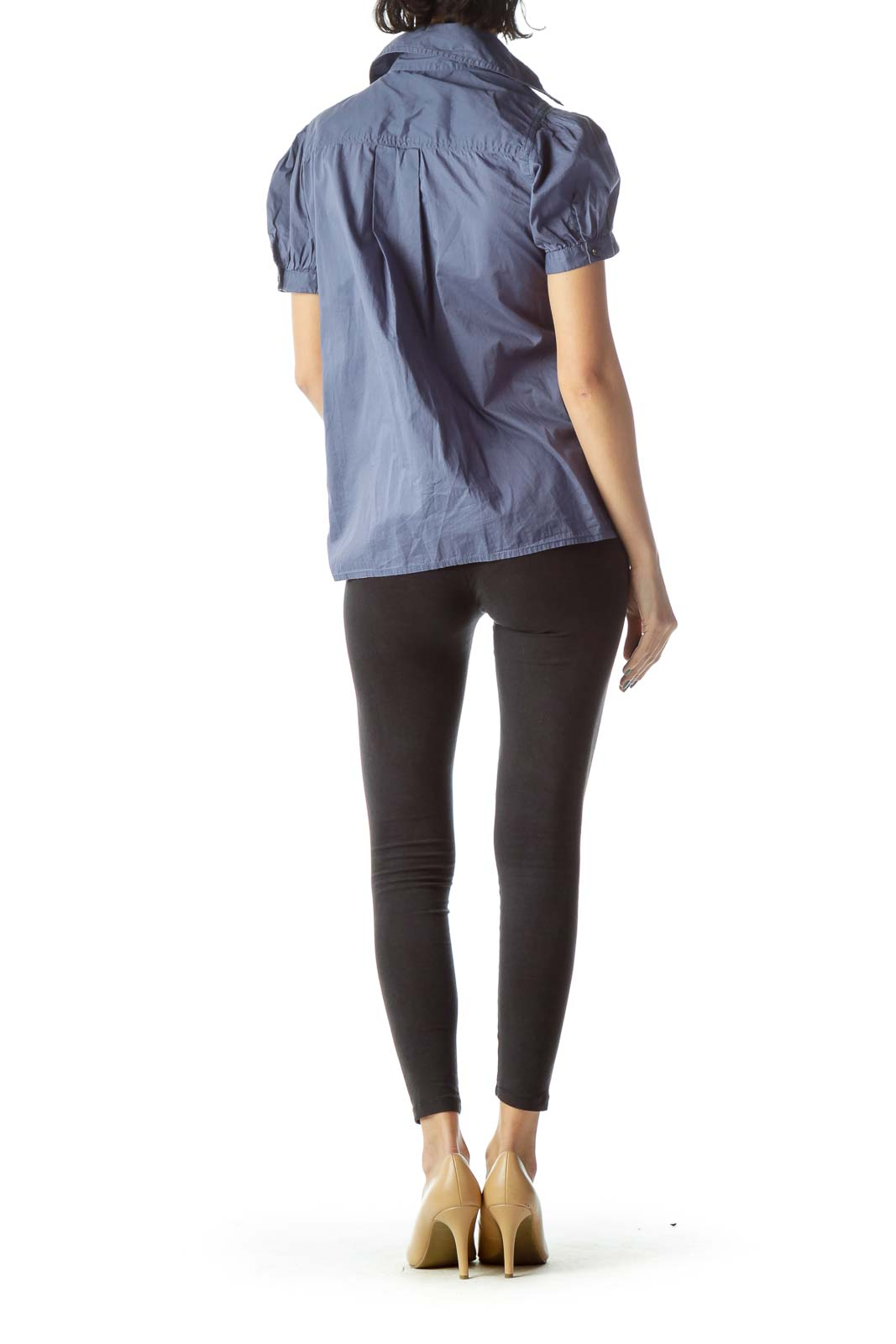 Blue Pocketed Metal Accents Short Sleeve Shirt