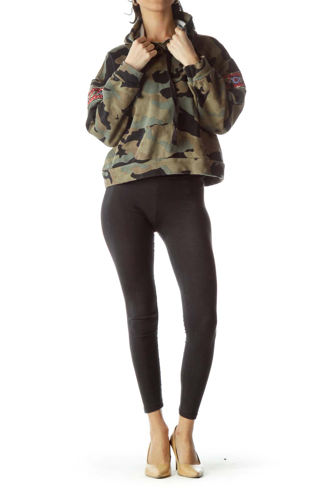 Black Green Camouflage Print Cropped Sweatshirt