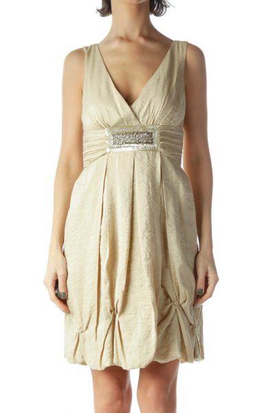 Gold Sequin Detail Cocktail Dress
