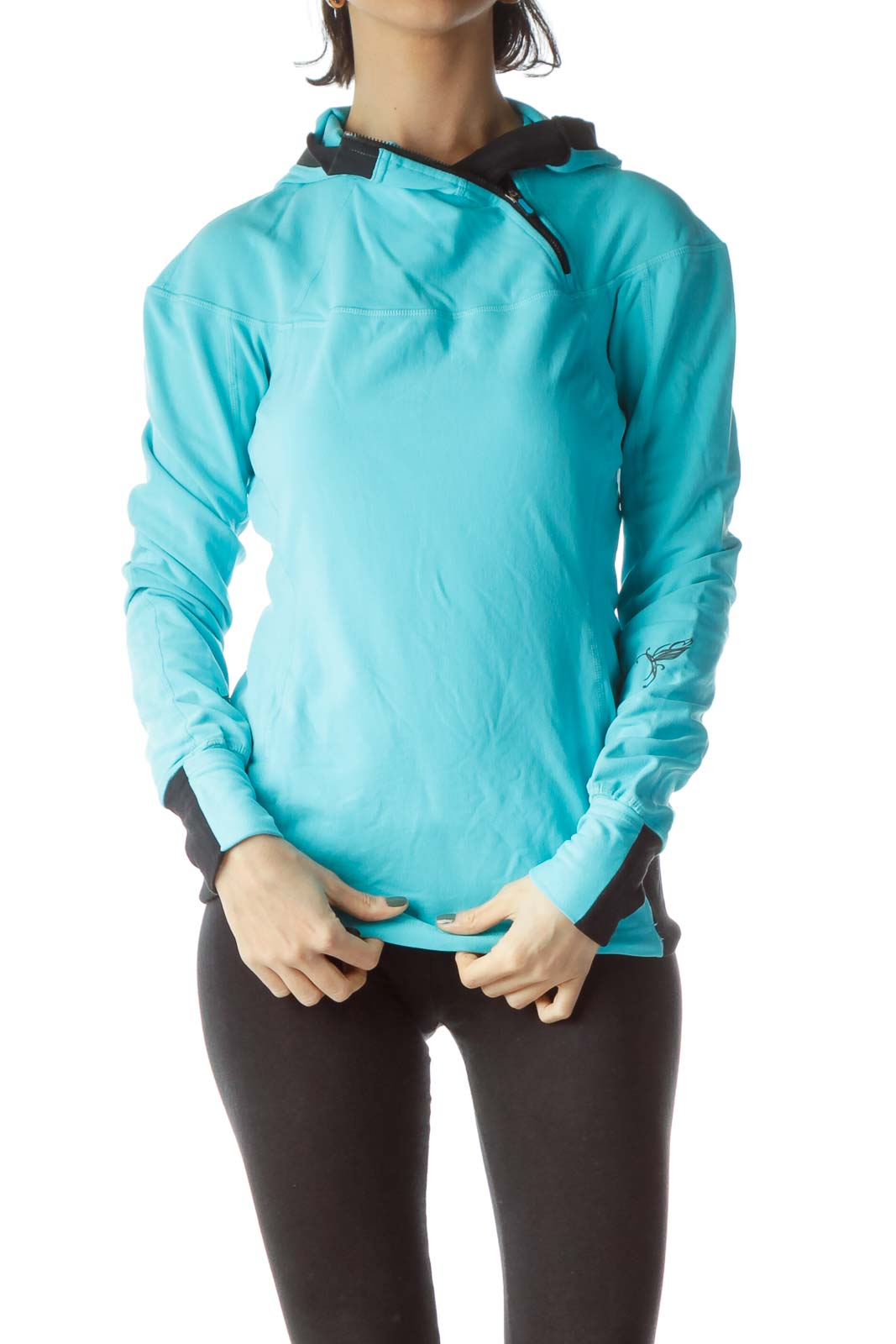 Light Blue Black Zippered Stretch Sports Jacket