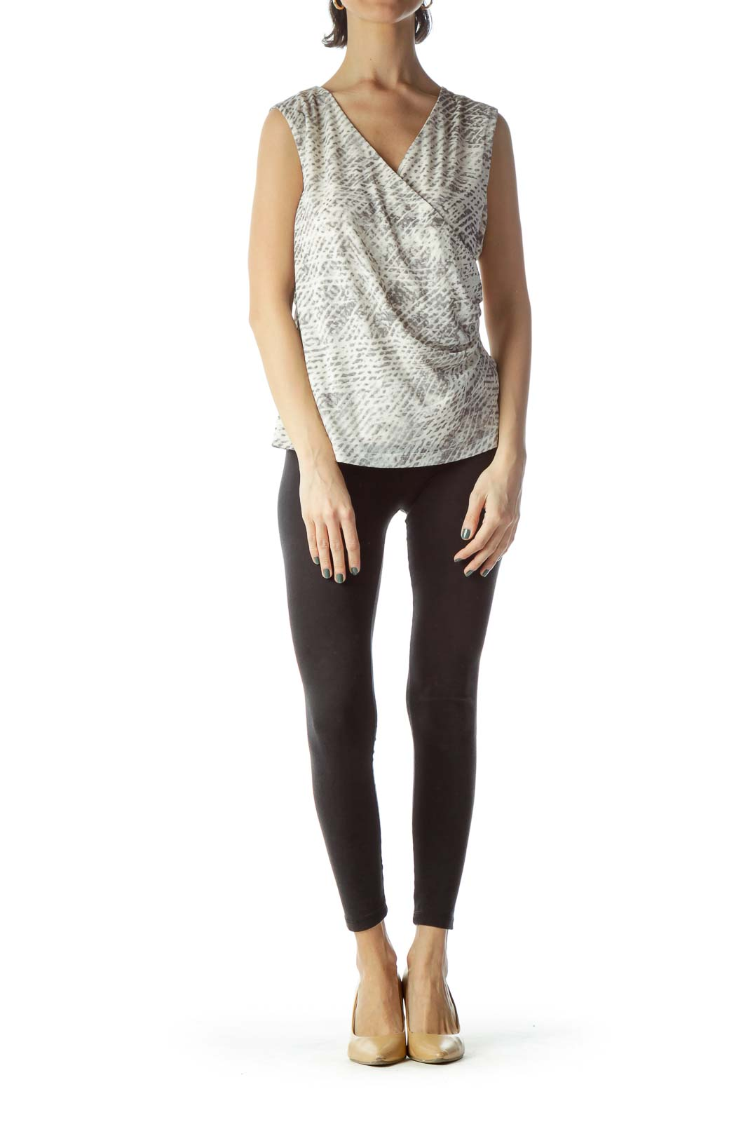 Gray Cream Snakeskin Print Sleeveless Top