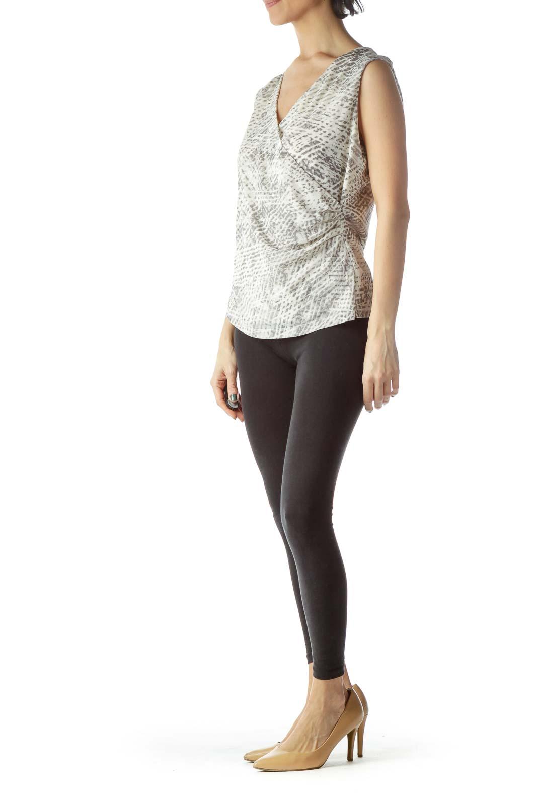 Gray Cream Snakeskin Print Sleeveless Top