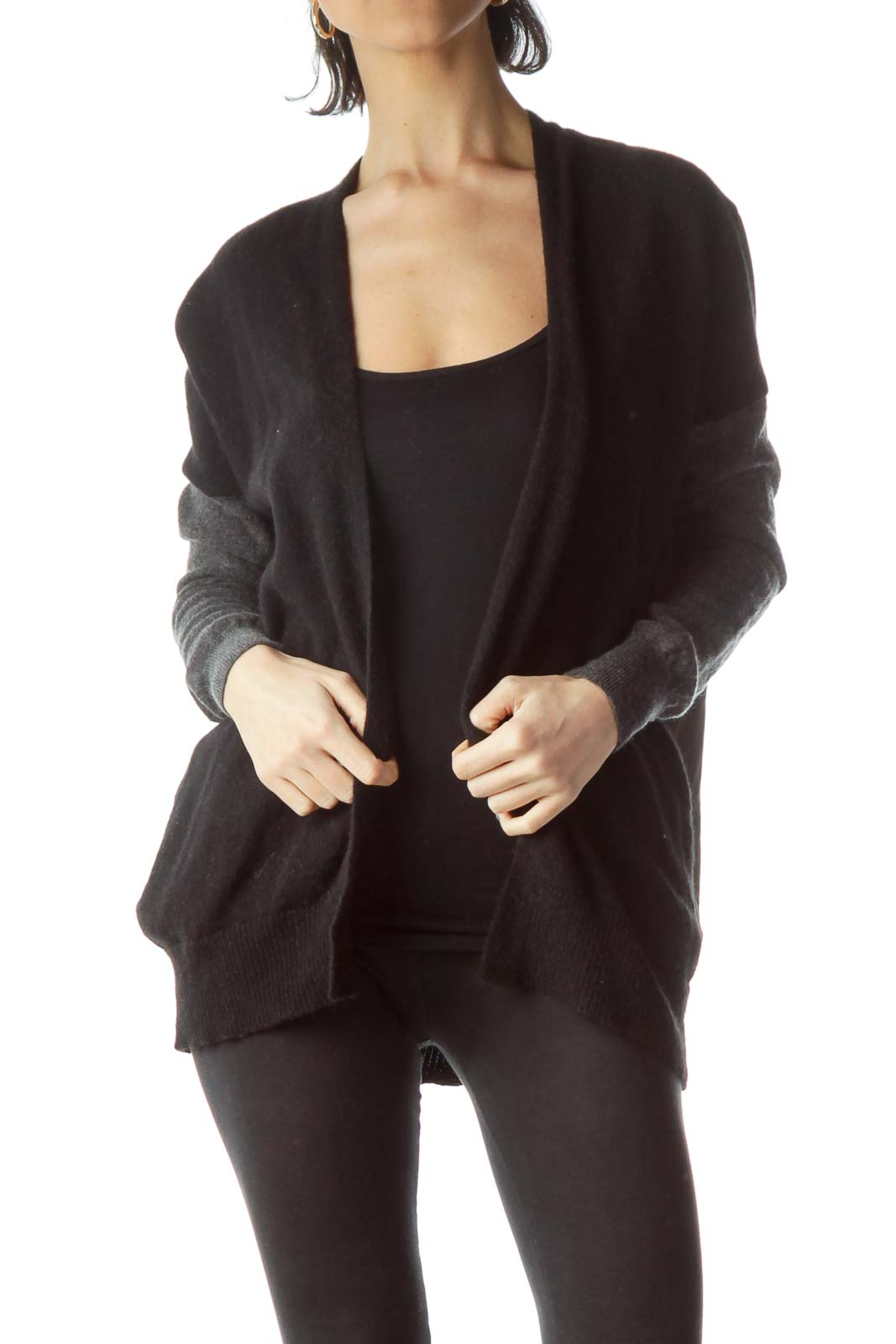 Army Green Black Gray Open Cardigan