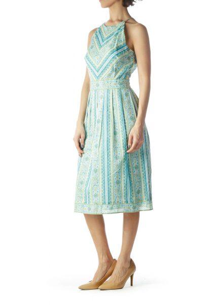 Light Blue Green High Neck Pleated Dress