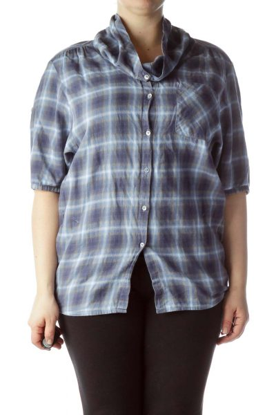 Blue Gray Plaid 100% Cotton Long 3/4 Sleeve Shirt