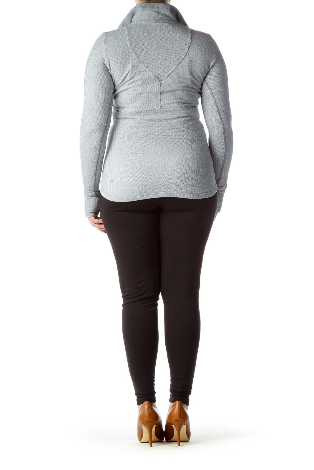 Gray White Textured Knit Sports Jacket