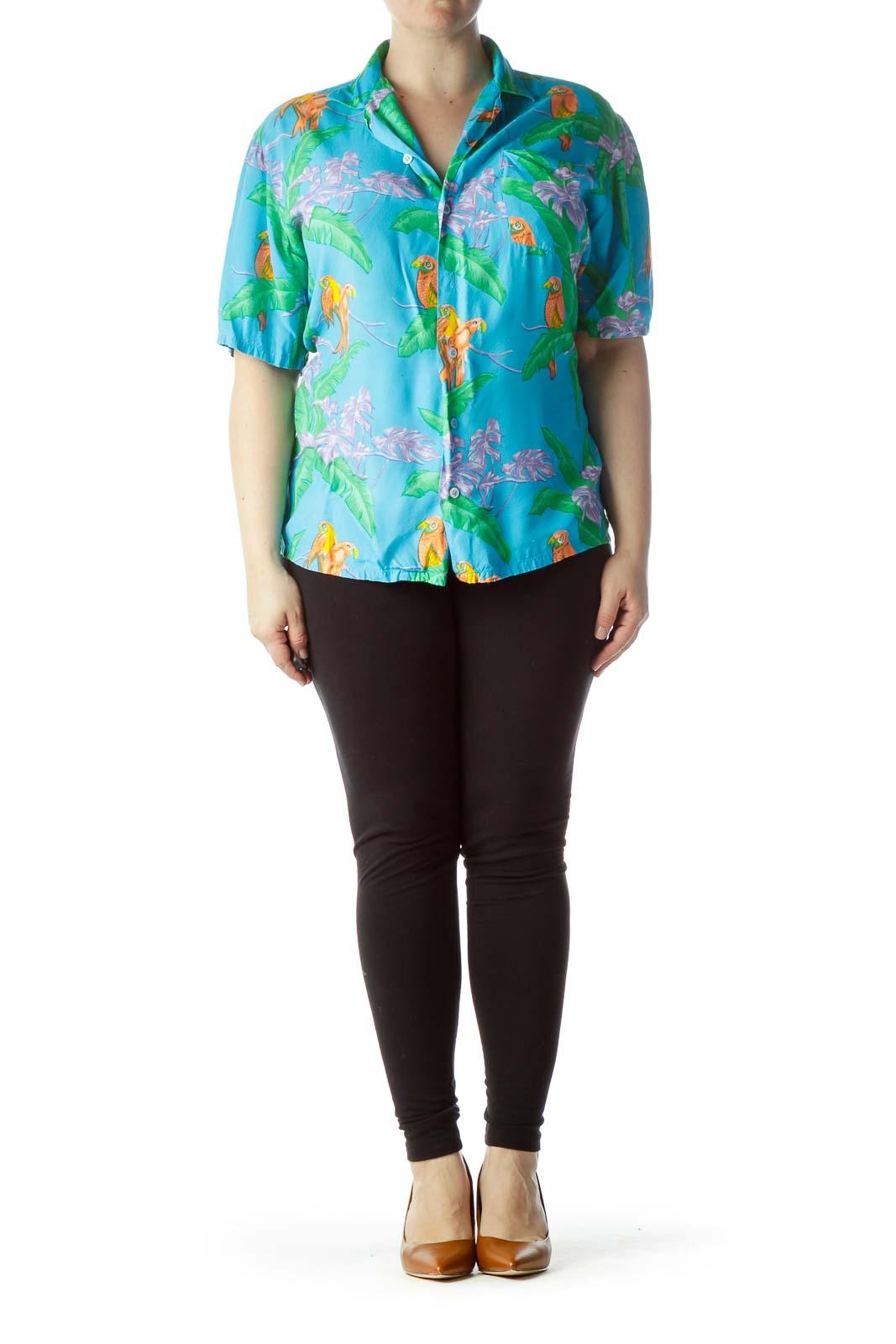 Multicolored Tropical Print Short Sleeve Shirt