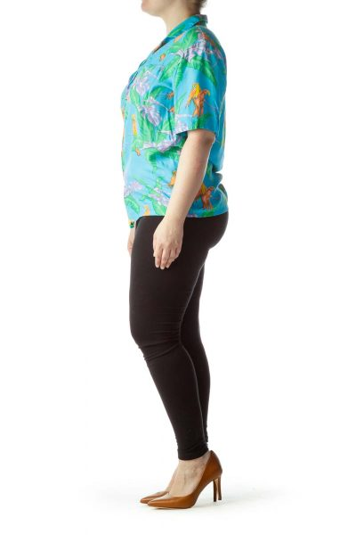 Multicolored Tropical Print Short Sleeve Shirt