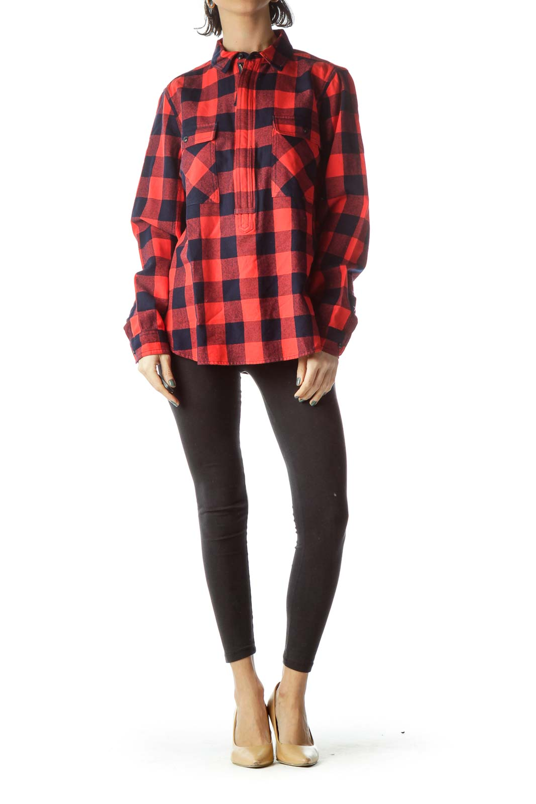 Navy Blue Red Checkered Knit Shirt
