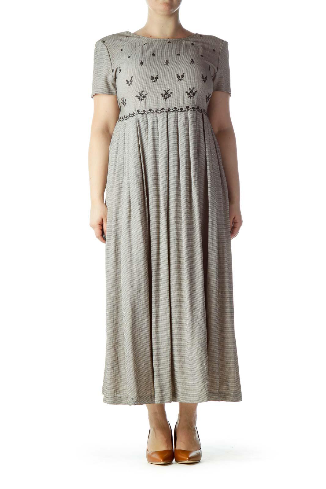 Black Houndstooth Midi Dress