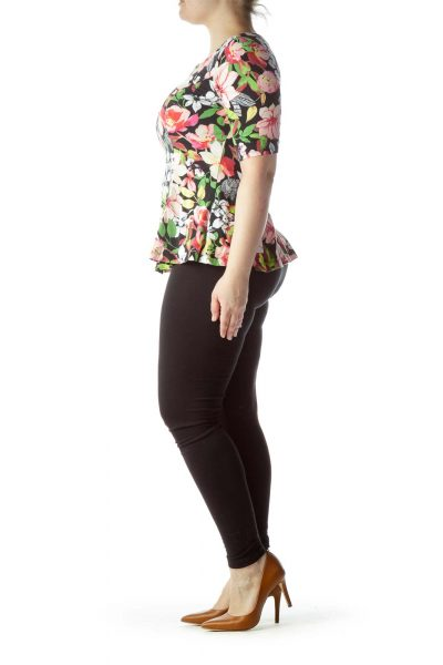 Multicolored Floral Print 3/4 Sleeve Blouse