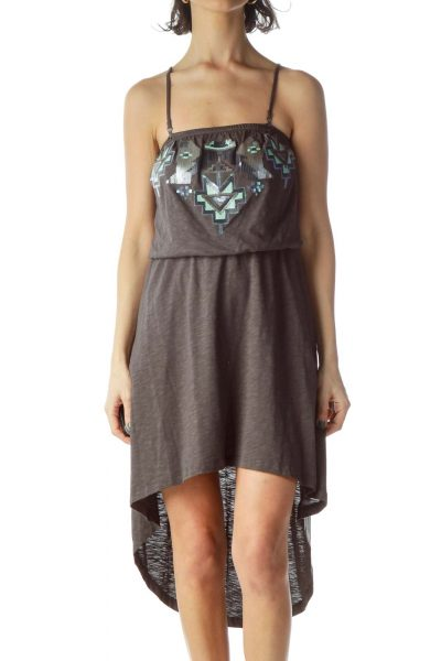 Gray Removable Strap Sequin Day Dress