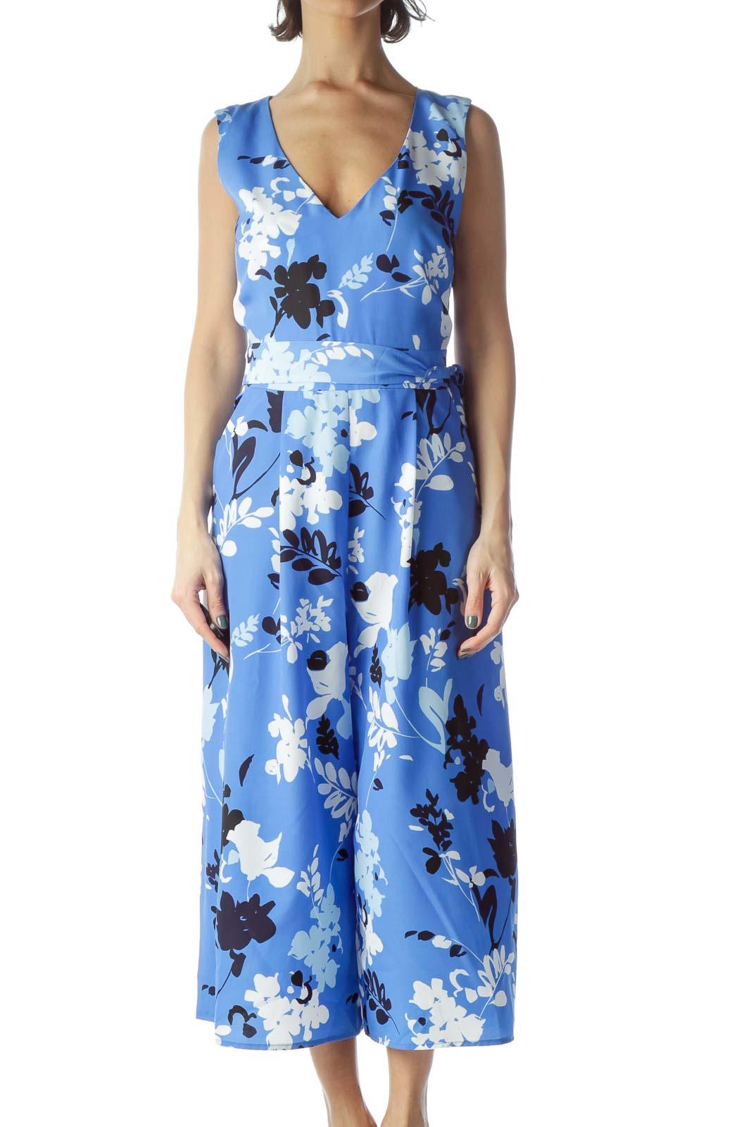Blue Printed Cropped Jumpsuit