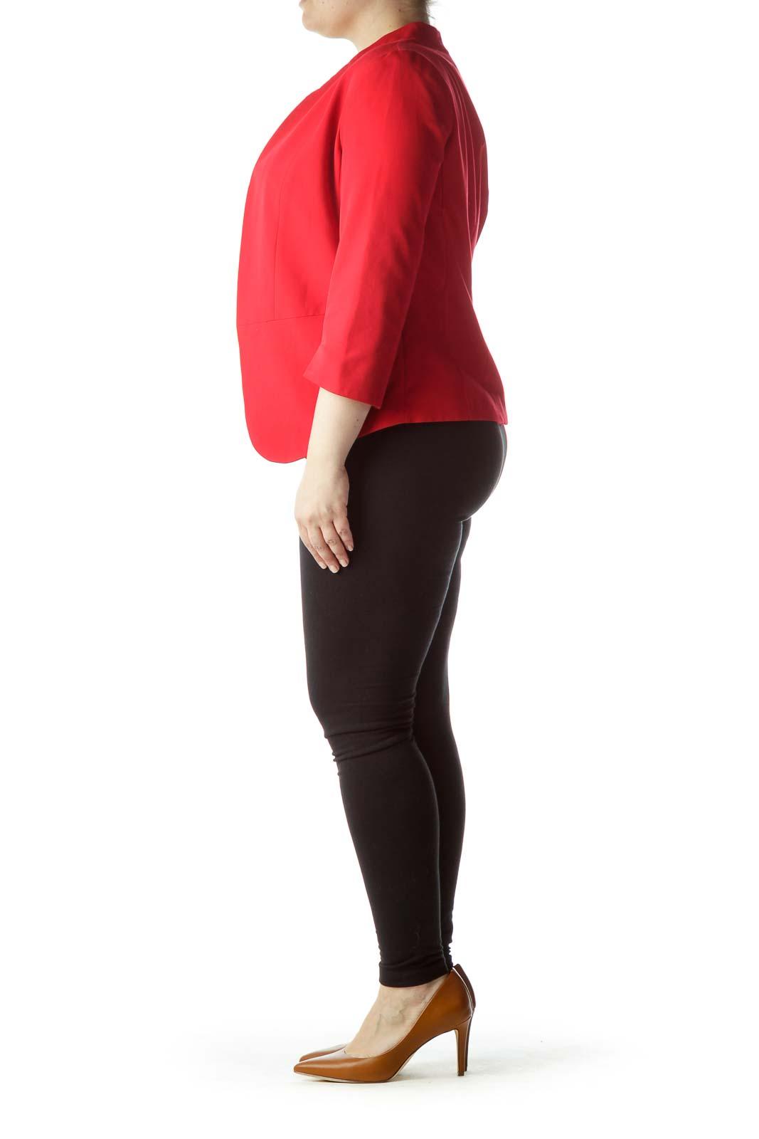 Red 3/4 Sleeve Blazer