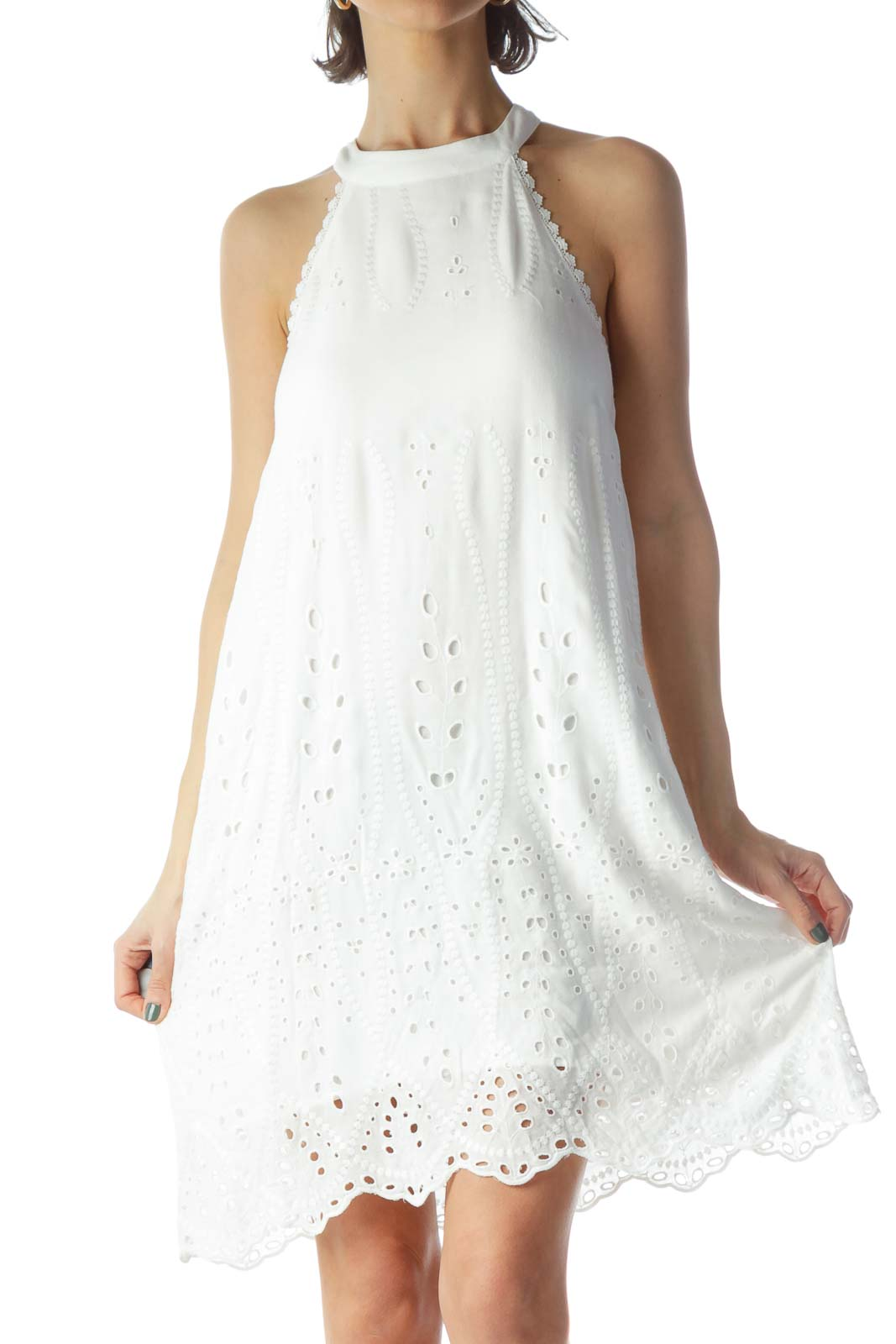 White Halter Eyelet Day Dress