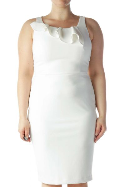 White Sheath Dress with Ruffle