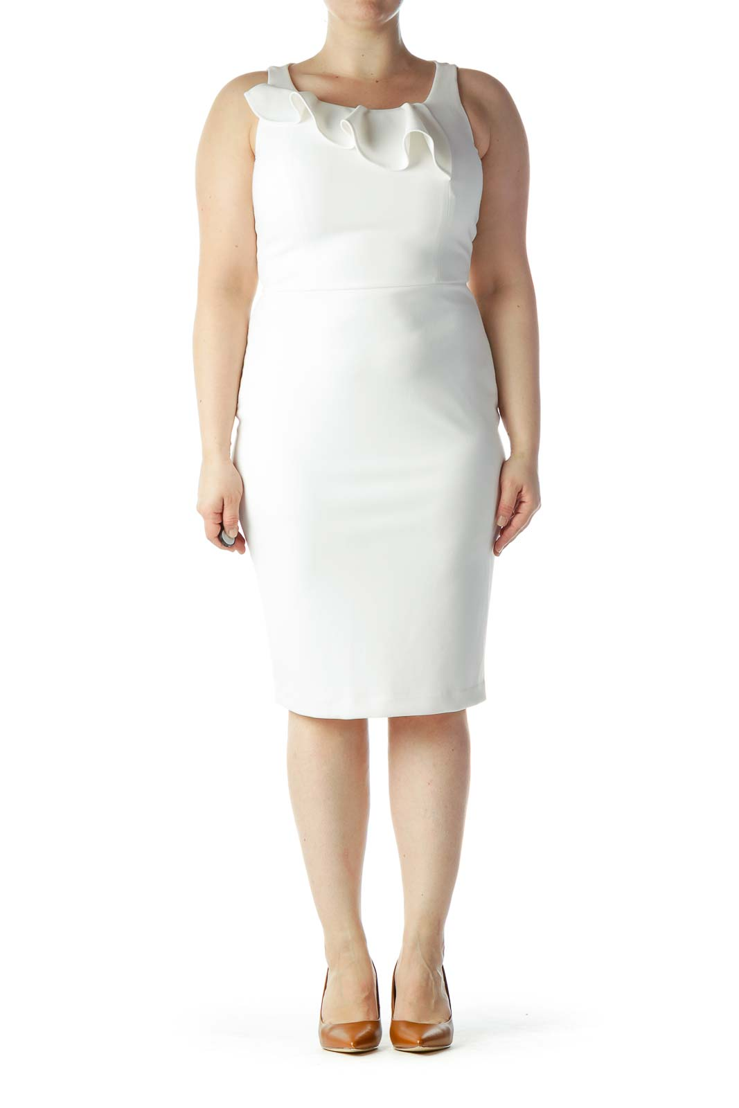 White Sheath Dress with Ruffle