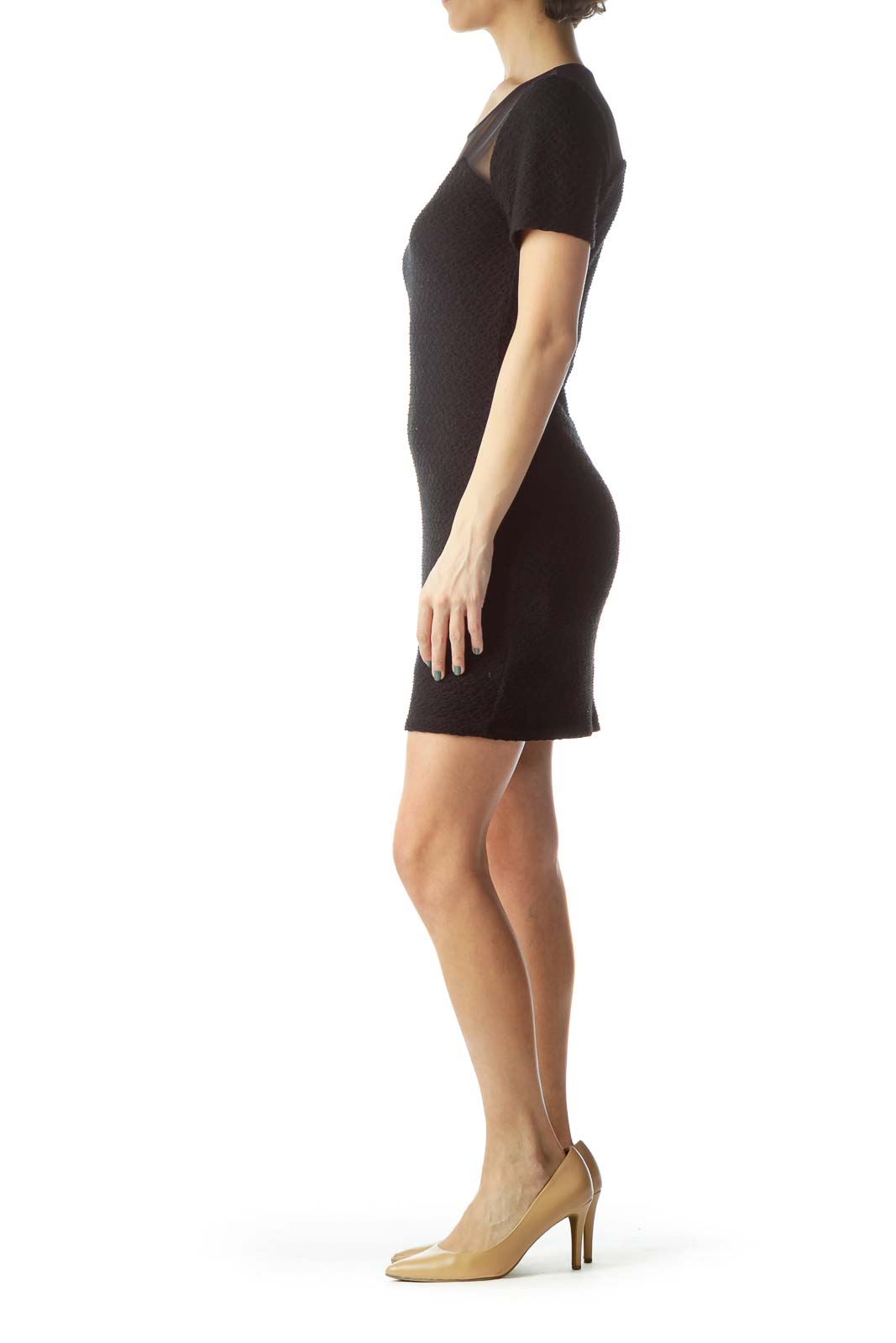 Black Bodycon Dress with Sheer Top