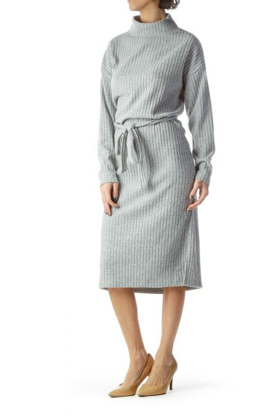 Gray Mock Neck Midi Sweater Dress