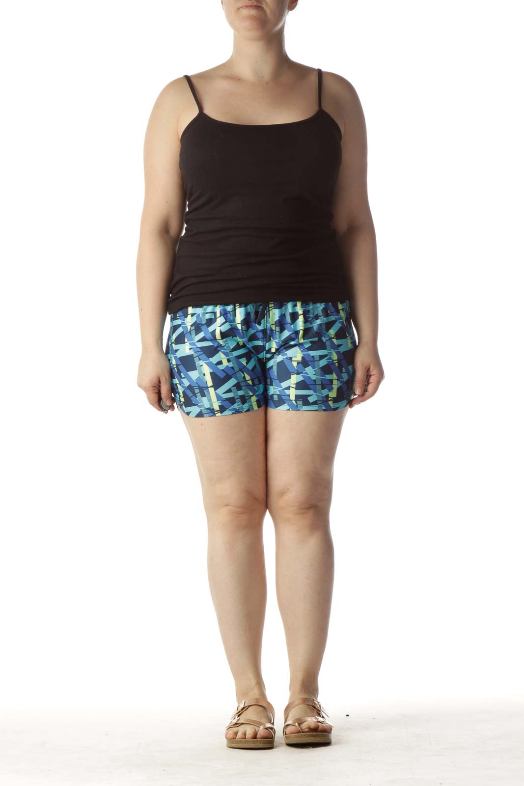 Blue Printed Sport Short