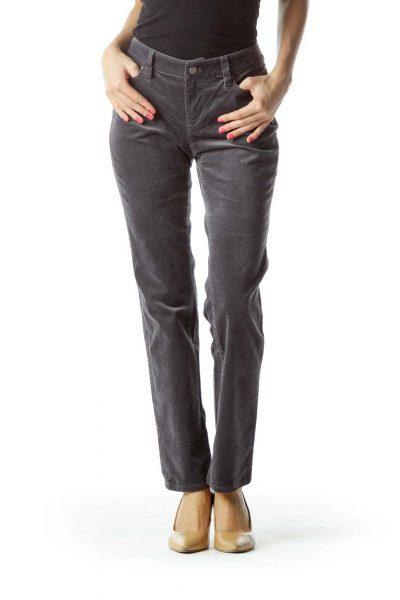Gray Velvet Skinny Pants