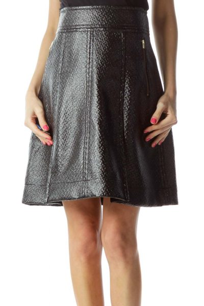 Black Shiny Flare Skirt
